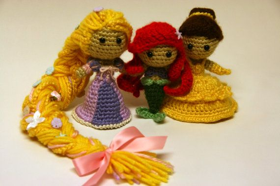 Amigurumi Disney Princess : Rapunzel Tangled Princess Crochet Doll Amigurumi Disney ...
