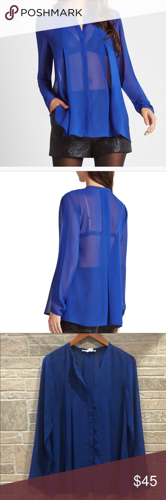 BCBGeneration Electric Blue Sheer Box Pleat Top M New condition. (I'm unsure if I've worn this top). Still has spare button tag attached.  Beautiful sheer blue BCBGeneration Tops Button Down Shirts