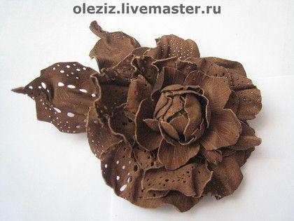 Роза Коричневая замшевая кожа - кожа,замша,коричнева,красивая,оригинальная