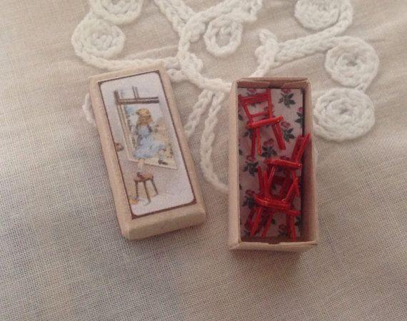 Boxed tiny chairs dollhouse miniature by karmolijntje on Etsy