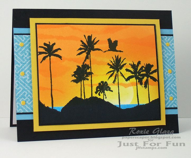 Masking and sponging with distress inks. Images can be found at Just For Fun Rubber Stamps: http://www.jffstamps.com/