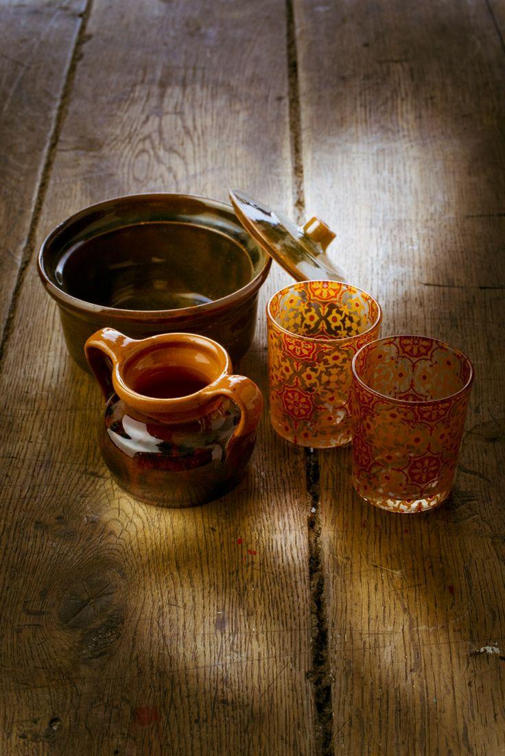 #verres et ramequin #vintage ensoleillé http://www.marielys-lorthios.com/  N'hésitez pas à « liker »