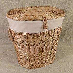 Wiklinowy kosz na pranie z obszyciem - wzór, cappuccino