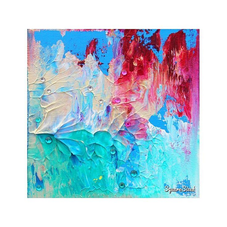 "TITLE: Pearly Dream SIZE: 10"" x 10"" x 1.5"" (25 cm x 25 cm x 4 cm) MEDIUM: Acrylic on Gallery Canvas MATERIAL: Canvas Acrylic Paint Heavy Gel Acrylic Gems COLOR: turquoise magenta iridescent gold blue green COA: A Certificate of Authenticity is provided  ABOUT THIS PAINTING: Charming colors a sparkling iridescent touch and lovely acrylic gems offer a pearly nacreous vibe to this piece of art. Strong vibrant colors are standing in contrast to the soft silver shine of the iridescent paint. Love..."