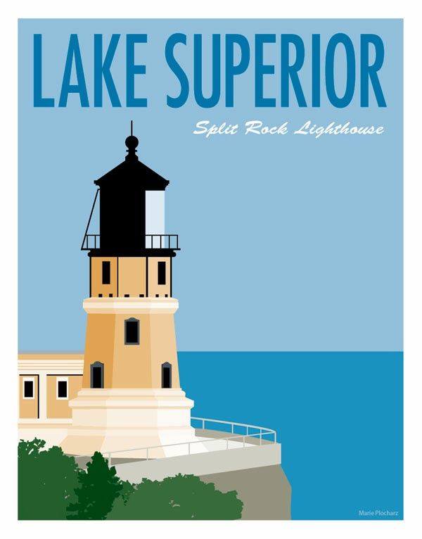 Split Rock Lighthouse Lake Superior - MN Roadside Attraction Travel Poster. Copyright Marie Plocharz