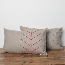 native inspired, arrow, wool thread, hand stitched, embroidery, beige wool, tan wool felt, pillow, cushion, vintage, furniture, north vancouver, mcm, north van, bc, handmade, shop local, home decor