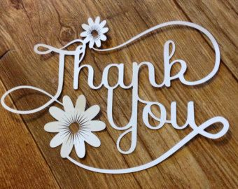 Thank You Paper Cut / Papercut Gift or Card Topper By Stacey Sansom