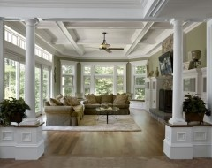 idea for restoring columns in old homes!Open Spaces, Ceilings Details, Families Room Design, Livingroom, Traditional Family Rooms, Living Room, Columns, Families Room Colors, Traditional Families Room