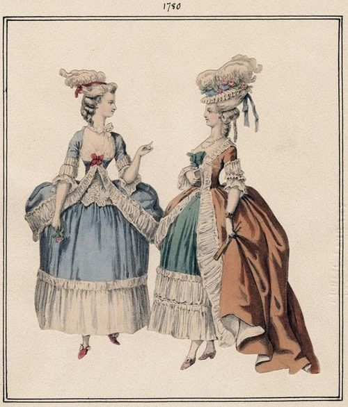 tiny-librarian:    Fashion plate from 1780 with examples of pre-Revolution style. The women wear powdered wigs, dresses with narrow waists and large hoop skirts.