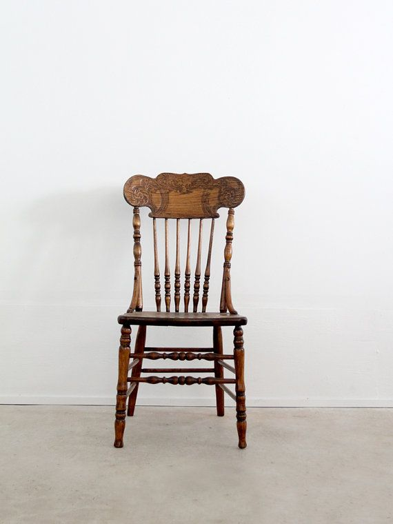 Antique Press Back Wood Chair Spindle Dining Chair Wood Chairs Chairs An