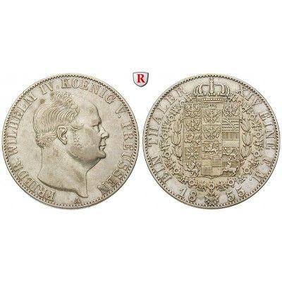 Brandenburg-Preussen, Königreich Preussen, Friedrich Wilhelm IV., Taler 1855, ss+: Friedrich Wilhelm IV. 1840-1861. Taler 1855 A.… #coins