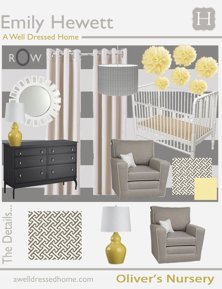 Grey White Yellow Nursery Gender Neutral Baby Nursery