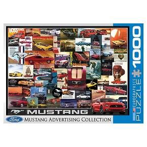 "The classic car enthusiast in your life will love the Vintage Car Ads Ford Mustang 1000 pc Puzzle. This jigsaw puzzle features different years of Ford Mustangs. You'll love the variety of colors of the gorgeous cars and the cool vintage advertisements. This Eurographics puzzle has strong high-quality puzzle pieces. Made from recycled board and printed with vegetable based ink. Once completed, this puzzle measures out to 19"" x 27"". For ages 12 and up."