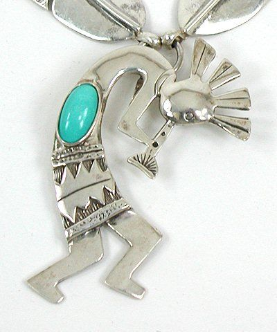 Authentic Vintage Navajo Turquoise Kokopelli and Feather Necklace 24 inches