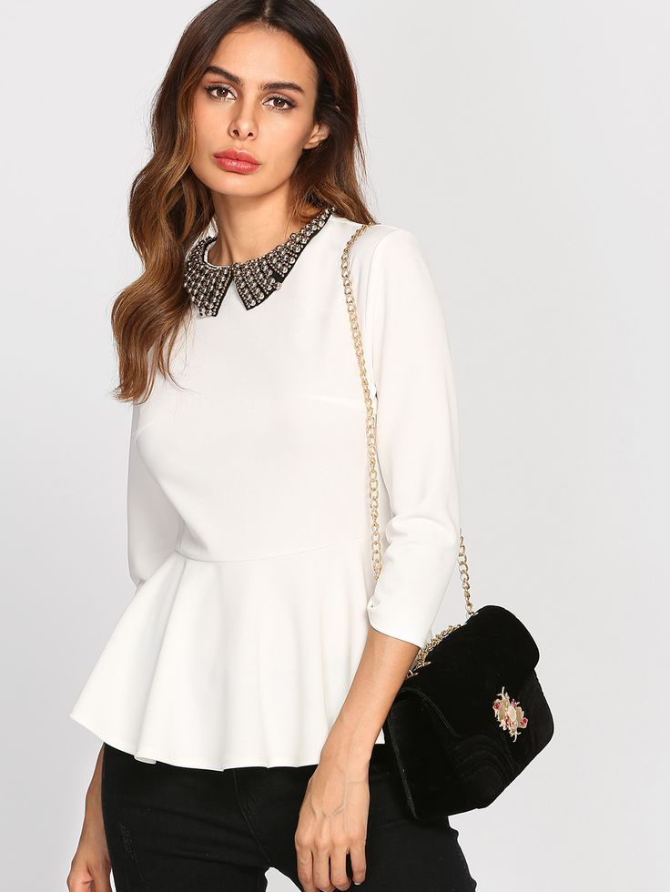 Shop Beading Collar Peplum Blouse  online. SheIn offers Beading Collar Peplum Blouse  & more to fit your fashionable needs.