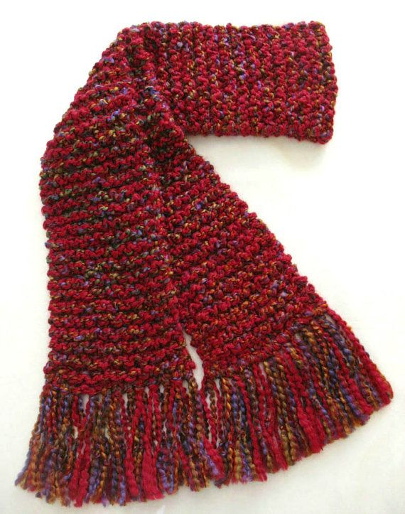 Red Scarf Long Chunky Knit Winter Scarf by SticksNStonesGifts