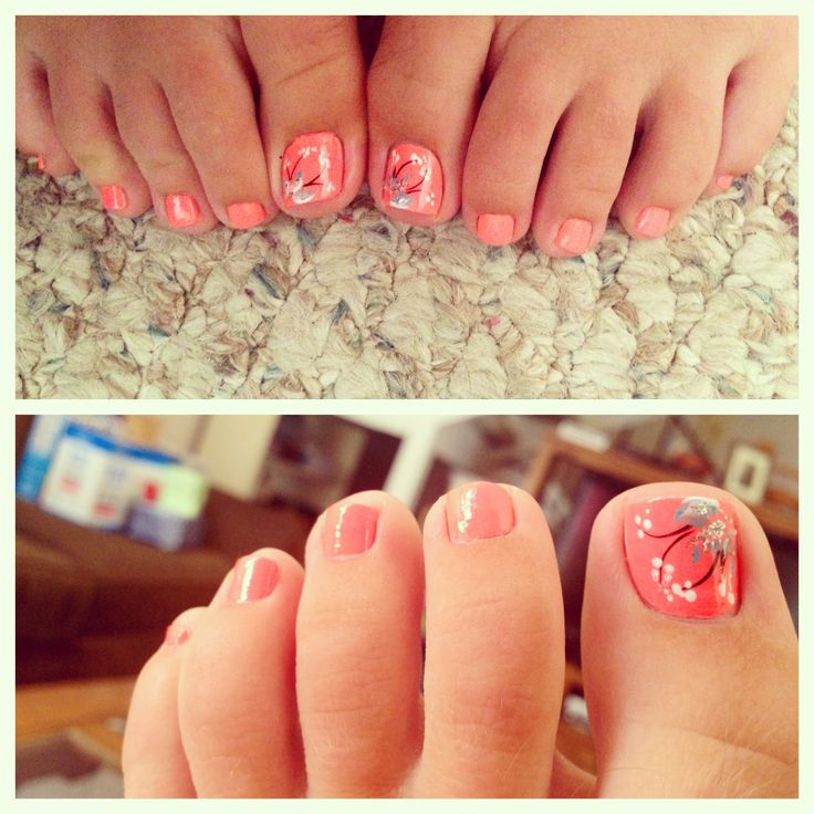 Coral color toe nails with flower design. Cute summertime look ...