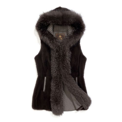 Exclusive knitted cashmere vest with front section in long-hair mink, trimmed in fox fur. Detachable hood. Ideal as outerwear over a casual sweater or to add a touch of elegance and warmth to winter looks.