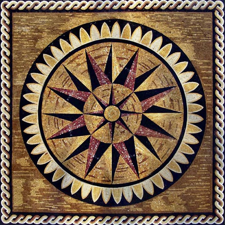 17 best images about compass rose mosaics on pinterest for Crossing the shallows tile mural