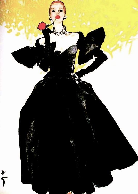 Black dress Christian Dior, illustration Rene Gruau, 1955