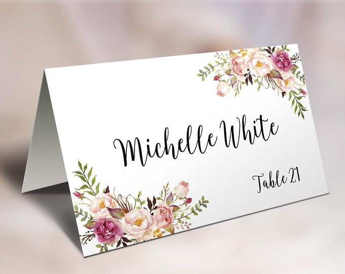 Wedding Place Cards Place Card Template Editable Reserved Seating Cards Folded Name Car Wedding Place Card Templates Place Card Template Wedding Name Cards