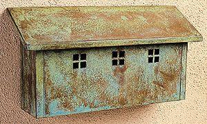 Arroyo Craftsman mailbox - but in rustic brown finish not verdigris