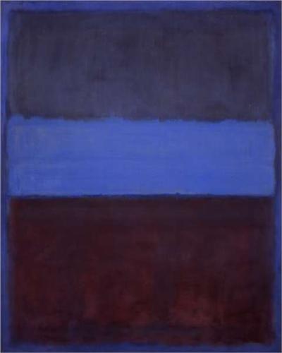 No. 61, Mark Rothko, 1953, huile sur toile, 115 x 92cm, Museum of Contemporary Art, Los Angeles. Mark Rothko était un peintre russe, naturalisé américain né à Dvinsk en 1903 et décédé à New York en 1970, associé au  courant colourfield. Il est connu par ses toiles faites a partir de grosses lignes horizontales étudiant la couleur. Il est considéré comme un des représentantes de l'expressionnisme abstrait.