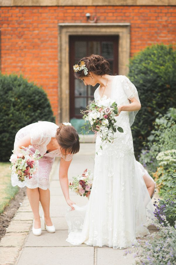 Azalea By Jenny Packham And A Delicate Floral Crown For A Bohemian Meets Edwardian Style Wedding