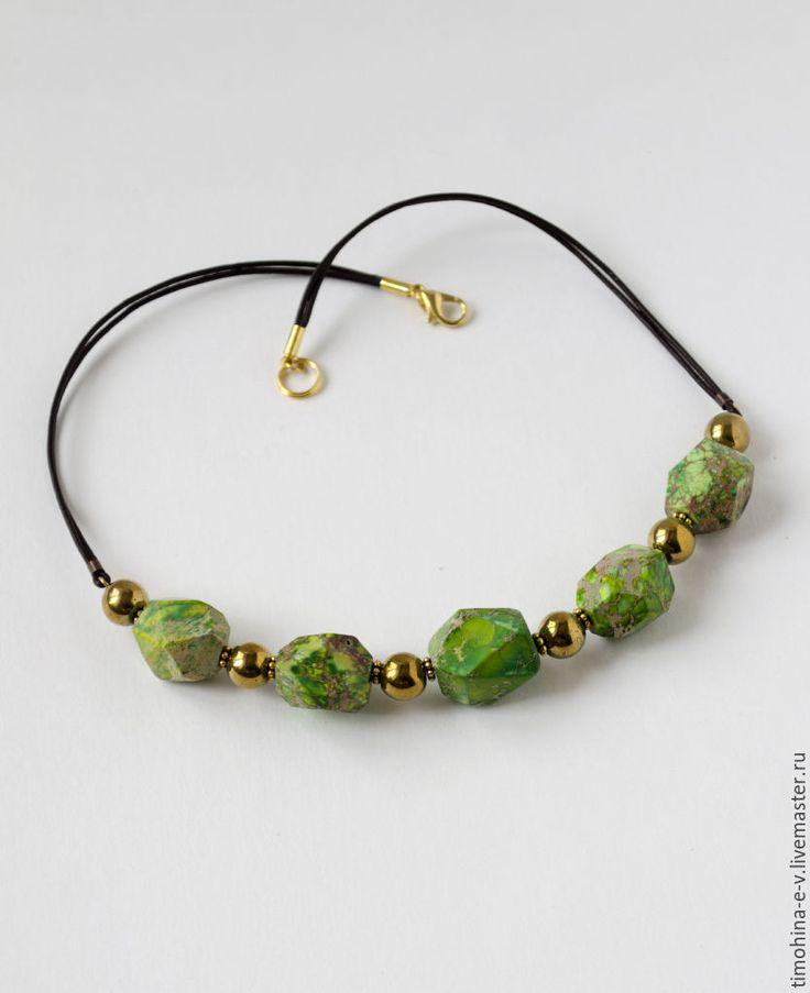 Купить Колье из натуральных камней - ярко-зелёный, варисцит, императорская яшма, гематит, натуральные камни #bijouterie #handmade #necklace #naturalstonenecklace #green  #variscite #jasper #hematite