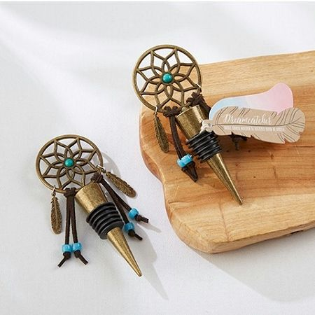 Dreamcatcher Bottle Stopper - A unique wine favor from our global inspired wedding favors collection.