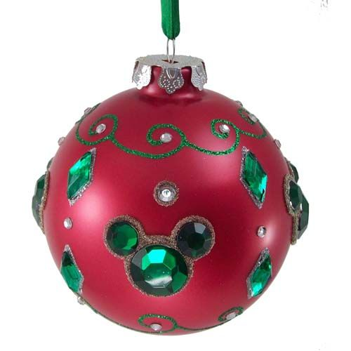 Disney Christmas Ornament - Red Ball With Jeweled Mickey Ears. Very Christmasy version of Mickey! #ck