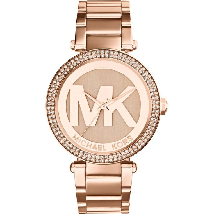 Crafted of stainless steel, this Michael Kors women's Parker MK logo dial. Running on a Japanese quartz movement, this watch offers a rose goldtone look and is protected by a mineral scratch-resistant crystal.