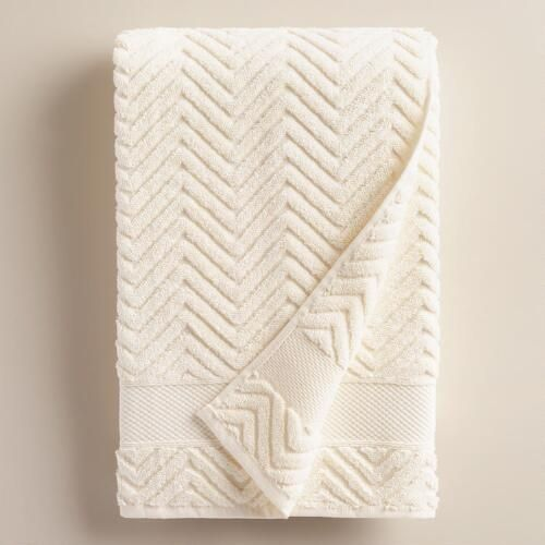 One of my favorite discoveries at WorldMarket.com: Ivory Chevron Spa Bath Towel