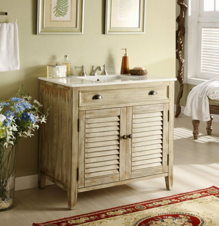 diy distressed bathroom vanity%0A Distress beige Shutter Blinds Abbeville Bathroom Sink Vanity  u     Dimensions      x x H The plantationinspired look of this cottagestyle sink cabinet  will add