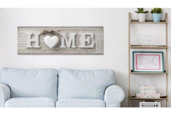 Картина в винтажном стиле с текстом HOME. Технология печати на холсте с имитацией дерева добавит интерьеру ретро стиля.