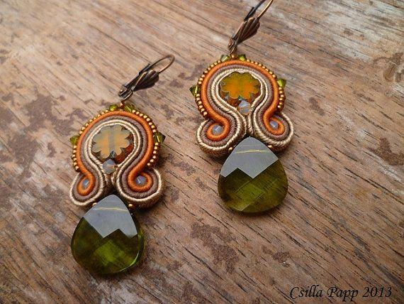 Soutache Earrings with green Swarovski crystal in by CsillaPapp, $65.00
