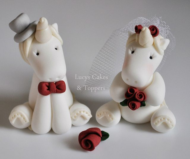 Unicorn horse bride and groom wedding cake topper by Lucyscakesandtoppers.co.uk, via Flickr