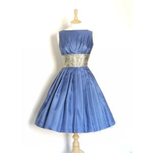 Size Uk 12 (Us 8-10) Dusky Blue Silk Twill Prom Dress With Brocade Waistband Made by Dig for Vic