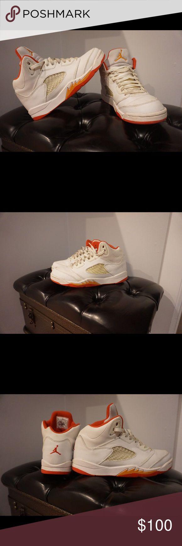 RETRO 5's JORDAN!! 🎉 Size 3 kids RETRO 5 JORDANS!!! Classic kicks. Good condition, you won't find these anywhere. Super comfortable. White/Fire-Red-Sunset-Dk CNDR. Jordan Shoes Sneakers