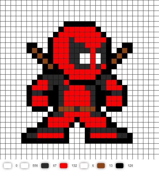 Deadpool perler bead pattern