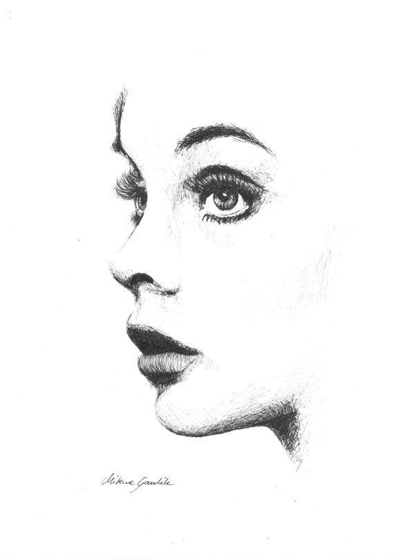 FEMININE GAZE - Sensual woman's portrait -  Fine Art Print after an original drawing by Milena Gawlik, Black & White
