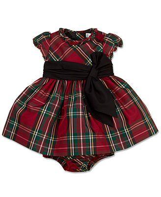 Ralph Lauren Baby Girls Dress, Baby Girls Taffeta Tartan Dress. Perfect for Christmas