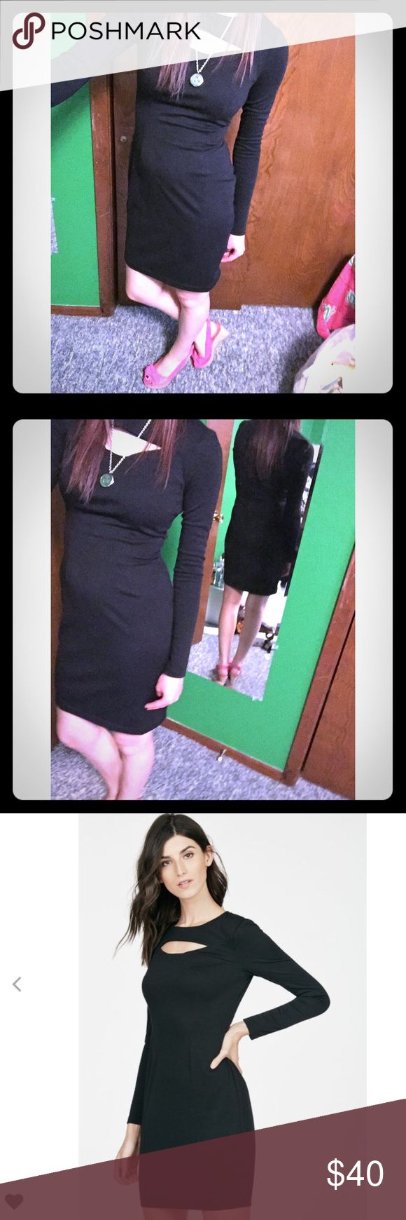 Sexy black dress with cutout I am selling this super sexy black dress with a chest cutout. The dress is NWOT and is in perfection condition. The dress is an XS, but fits more like a small. It shows off your curves and enhances them. Perfect for a date night or a special occasion! Dresses Midi