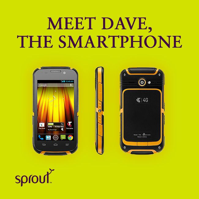 Meet Dave, the Smartphone.  Have your clumsy fingers damaged enough smartphones for one lifetime? Check out Telstras Dave! #sprout #sproutaus #dave #ZTET83 #telstra #phonecase #phonecover #tuffcase #smartphone #phonecover