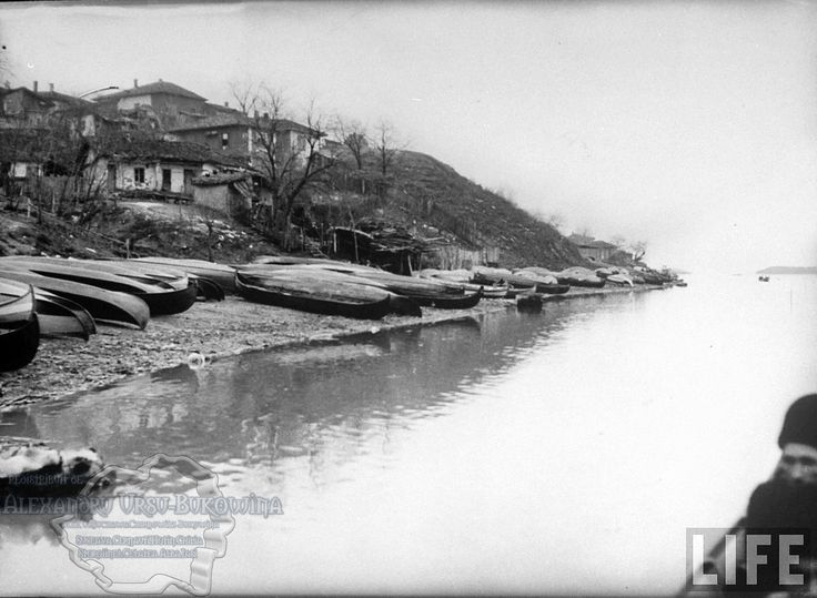 71.Turtucaia.Row-boats on the Bulgarian side of the Danube River used to cross over into Rumania because there is no bridge there.