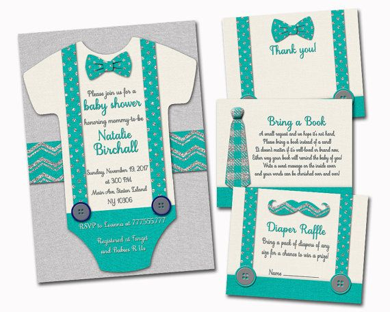 52 best invitations for baby boy images on pinterest baby shower little man baby shower invitation with inserts onesie invite set bow tie mustache turquoise silver diaper insert bring a book thank you card filmwisefo