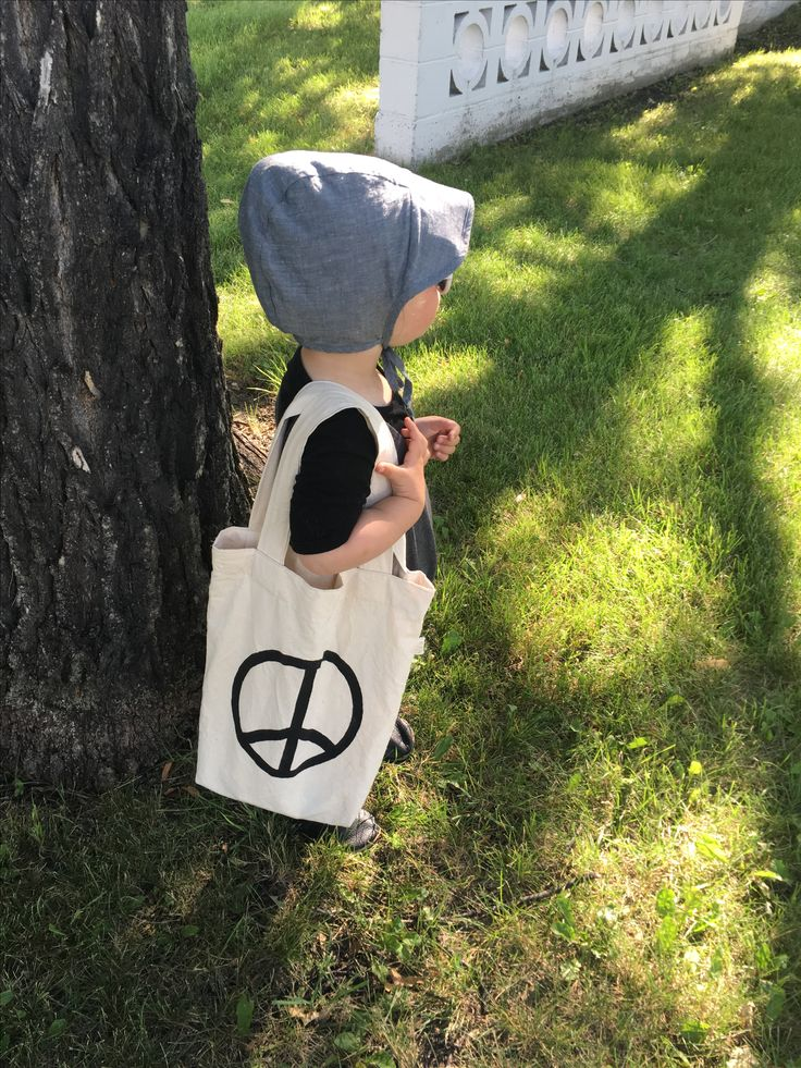 Peace mini tote Bag for kids handmade, ecofriendly, sustainable nontoxic made in the heart of Canada