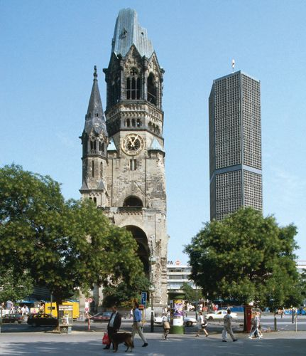 Berlin's Top 10 : Kaiser-Wilhelm-Gedächtnis-Kirche - Tower Ruins    Only the tower of the memorial church survived the destruction of World War II that razed much of Berlin to the ground. Today only 63 m (206 ft) high, it once rose to 113 m (370 ft).