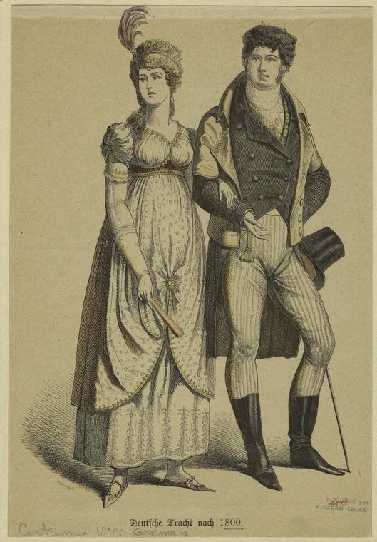 1800's clothing | 1800 Regency Fashion Plate - German - from digitalgallery.nypl.org
