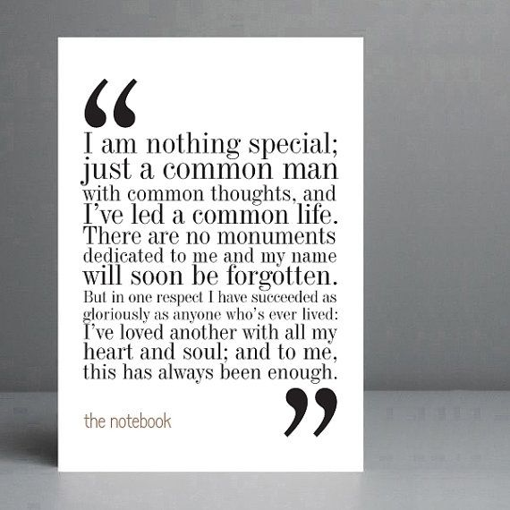 The Notebook Movie Quote 3. Typography Print. by silvermoonprints, $10.00